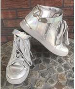 Ladies Aldo Athletic Shoes Size 8 Silver Lace Up Ankle Straps Unique Tra... - $23.17