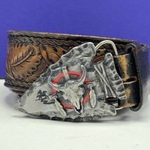 Western belt buckle vintage pewter arrowhead cow skull siskiyou 1980 nat... - $79.15