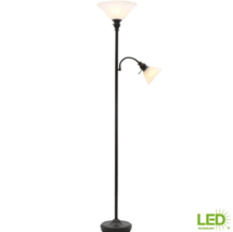 71 in. Bronze Mother Daughter Torchiere Lamp with Alabaster Glass Shade ... - $59.39