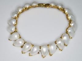 VTG CROWN TRIFARI Mid Century Faux Pearl Tear Drop Bracelet - $39.60