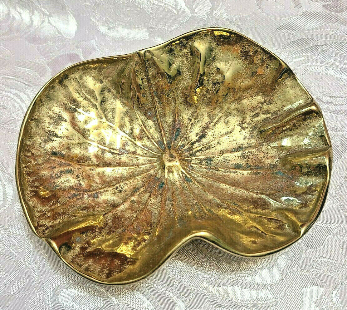 Vintage Brass Lily Pad Sculpture Dish Bowl Ashtray Mid-Century Metalcrafters