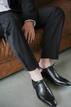 Black Color Plain Toe Customized Magnificiant Leather Stylish Men Oxford Shoes - $139.90+
