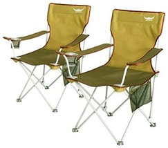 Buffalo Wide Foldable Camping Chairs Set (Count of 2) for Hiking Fishing Hunting