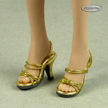 1/6 Phicen, TB League, Hot Toys, Cy & NT - Sexy Female Gold Strap Heels Shoes - $18.32