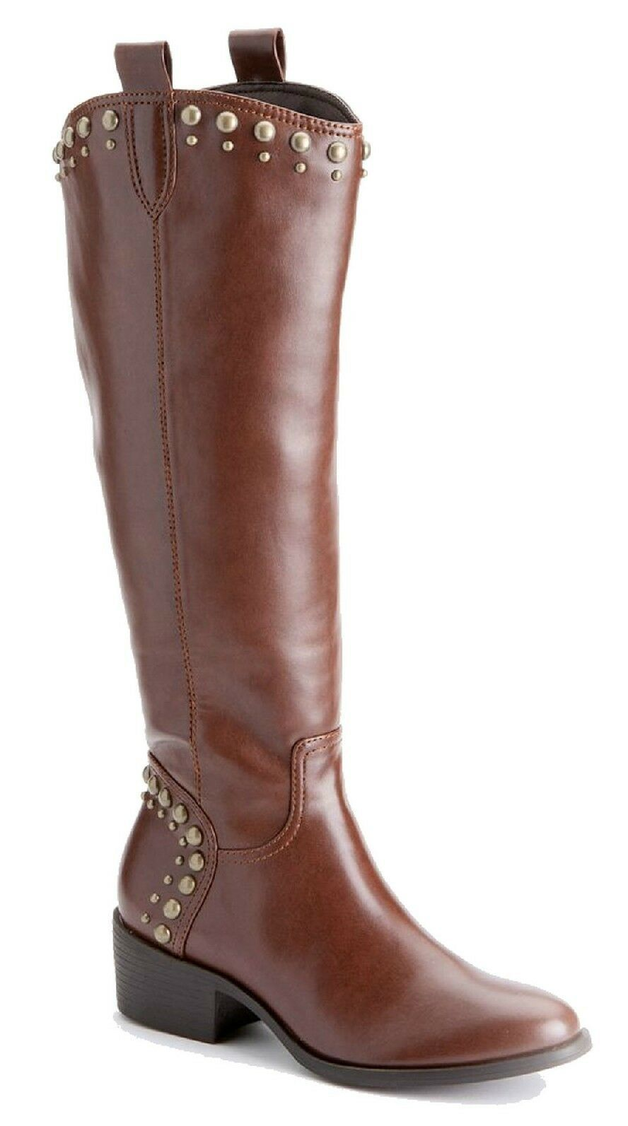 Primary image for Elle Womens Addison Cognac Brown Studded Tall Knee High Boots 6 M 6M