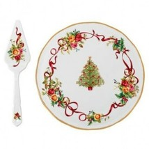 Royal Albert Old Country Roses Christmas Tree Low Cake Plate and Server New - $68.31