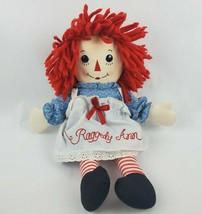 """Raggedy Ann Doll 16"""" Plush Handmade by Aurora Red Yarn Hair Apron I Love... - $18.13"""