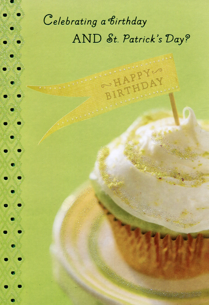 Cupcake St. Patrick's Day Birthday Card