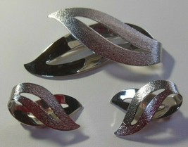 Vintage Sarah Coventry Silver-tone Textured Brooch & Earrings - $37.00