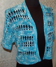 Chicos Loosely Woven Cardigan Sweater 0 S 4 Womens Turquoise Blue - $25.63