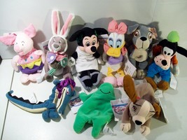 LOT OF DISNEY STORE BEAN PLUSH WITH TAGS MICKEY PIGLET LADY DAISY GOPHER... - $32.29