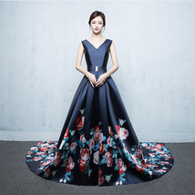 2018 Floral-Print Long Prom Dress Double V-neck Floor Length Evening Dre... - $128.99