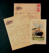 LOT 1905 antique COVER,PERSONAL LETTER,POSTCARD~HAMBURG AMERICA LINE bal... - $87.95