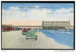 Beach View of Pier Casino Daytona Beach FL Cars Vintage Kropp Linen 1950Topiary - $4.99
