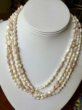 "White & Pink Freshwater Seed Pearl Strand Necklace 78""  NEW Baroque - $39.16"