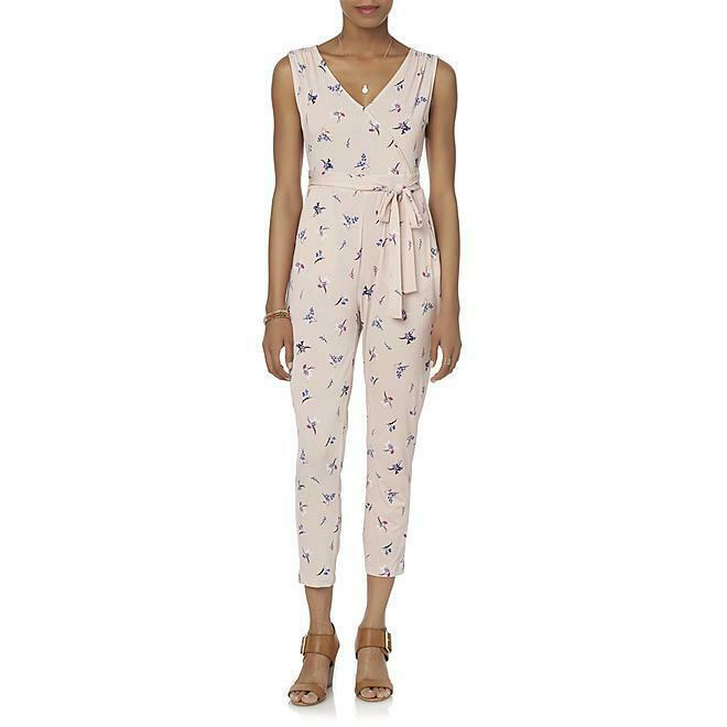 Simply Styled Womens Petite XL Rose Pink Smoke Floral Tie Strap Jumpsuit Romper