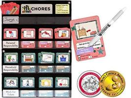 NEATLINGS Chore Chart System | 1 Child | 80+ Chores | Teal & Pink Cards - $38.95