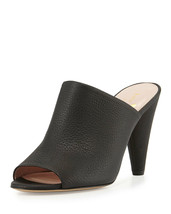 Kate Spade New York Bova peep-toe cone-heel mule black Pebble Leather 9.... - $160.20