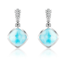 Dominican Sky Blue 8 MM Cushion Shape Statement Handmade 925 Silver Ear... - $51.43