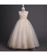 Crew-Neck Champagne Tulle Bow Brithday Flower Girls Dresses Short Party ... - $43.99