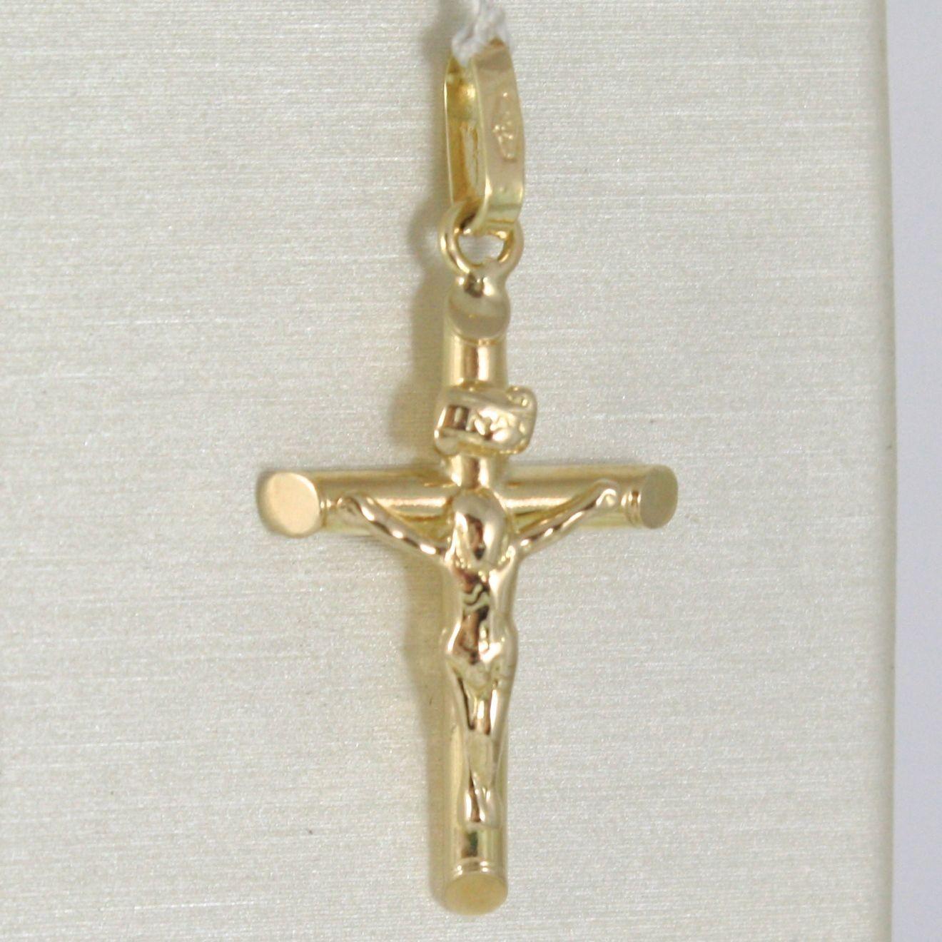 PENDENTIF CROIX OR JAUNE OU BLANC 750 18K,TUYAU,AVEC LE CHRIST,JESUS,