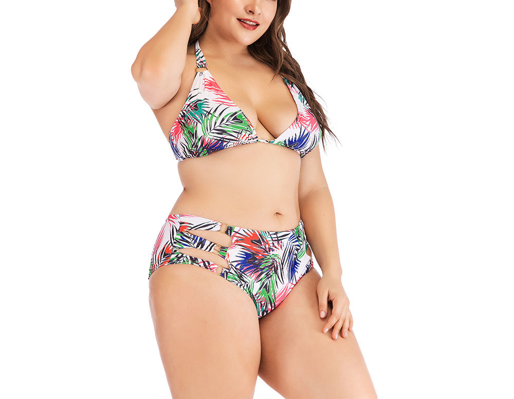 Women's Plus Size Halter Push Up Leaf Printed Two Pieces Bikini Set