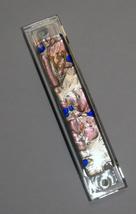 Murano Glass Handmade Mezuzah Case w 6.5 cm Scroll Silver Foil Lavender Blue image 2