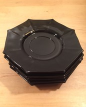 Vintage 60s Black Glass Octagon small plates/saucers- set of 5 image 1