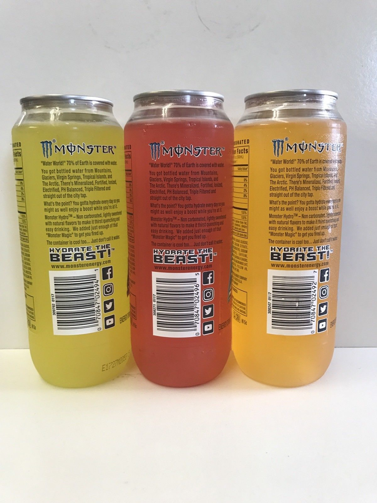 Monster Energy Drink Hydro Clear Cans Set Of Three Discontinued Collector Cans
