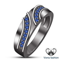 Women's Wedding Engagement Ring Blue Sapphire Pure 925 Silver Black Gold... - ₨5,222.98 INR
