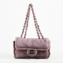 """Chanel Purple Quilted Leather & Shearling """"Medium Flap"""" Bag - $1,405.00"""