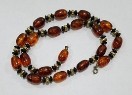 Vintage Amber Colored Beaded Necklace With Black And Gold Accent Spacer Beads  - $5.99