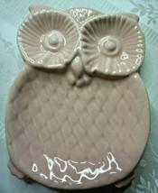 "Vintage Pink Owl Porcelain Ceramic Embossed Small Trinket Dish 5"" x 3.75"" - $14.82"