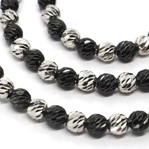 925 STERLING SILVER OFFICINA BERNARDI DIAMOND CUT SPHERES 4 MM BLACK NECKLACE image 2
