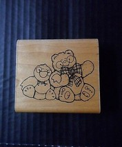 DOTS Rubber Stamp Best Friends Friendship Pals Teddy Bear Duck Q158 - $4.60
