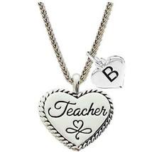 Custom Teacher Silver Heart Necklace Pendant Jewelry Choose Initial - $19.94