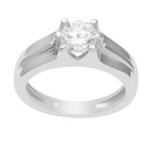 Solitaire Ring|| Gorgeous Look White Cubic Zircon Solid 925 Sterling Sil... - $8.31