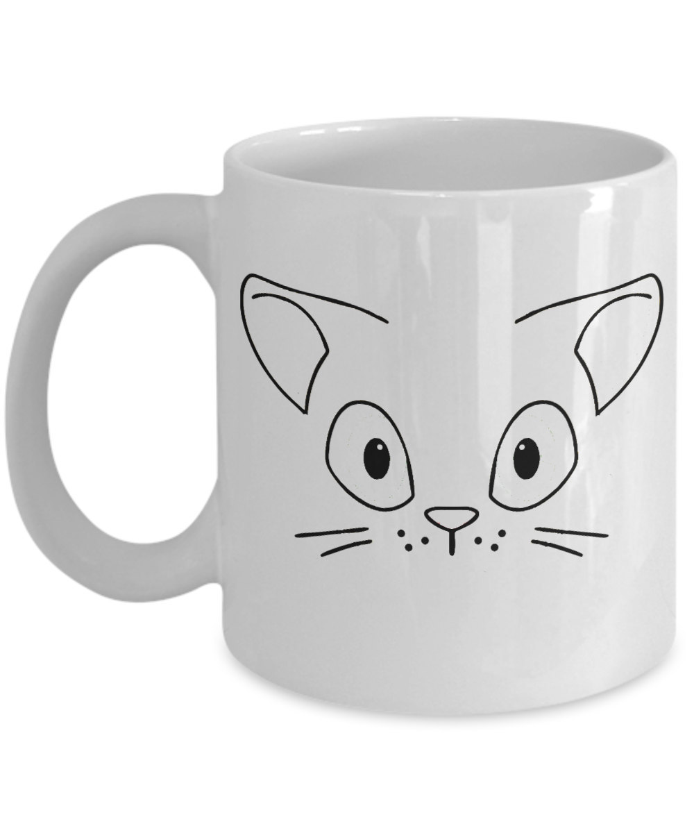 "Cute Cat Coffee Mug ""Adorable Cat Face on a Mug"" Adorable Cat Stuff For Cat Love"