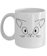 "Cute Cat Coffee Mug ""Adorable Cat Face on a Mug"" Adorable Cat Stuff For ... - £11.65 GBP"