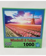 Puzzle Mate 1000 Pc Jigsaw Puzzle Windmill & Tulips - New - $24.99