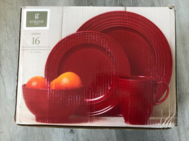 Red Stoneware 16 Piece Gibson Stanza Dinnerware 4 Place Settings- Missing 1 Mug - $64.35