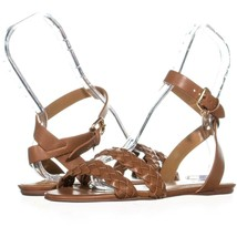 Coach Scarlett Flat Ankle Strap Sandals 137, Saddle, 7.5 US / 37.5 EU - $70.07