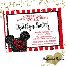Mickey Mouse Red Black Baby Shower invitation Glitter Personalized Sprinkle - £0.74 GBP