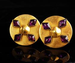 Vintage Amethyst Cufflinks / medieval cross / one of a kind / 6th Wedding annive - $295.00