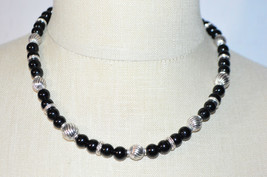 NAPIER Black Glass Silver Bead Beaded Choker Necklace Vintage - $34.64