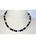 NAPIER Black Glass Silver Bead Beaded Choker Necklace Vintage - $34.64