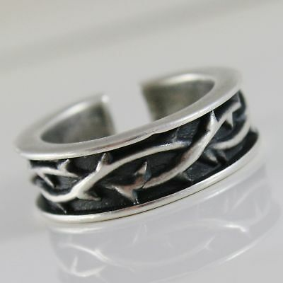 Silver Ring 925 Burnished Band with Crown of Plugs and Size Adjustable