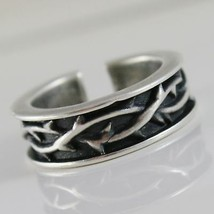 Silver Ring 925 Burnished Band with Crown of Plugs and Size Adjustable image 1