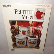 Fruitful Mugs Cross Stitch Leaflet 83057 Leisure Arts 1993 Apples Baskets - $9.99