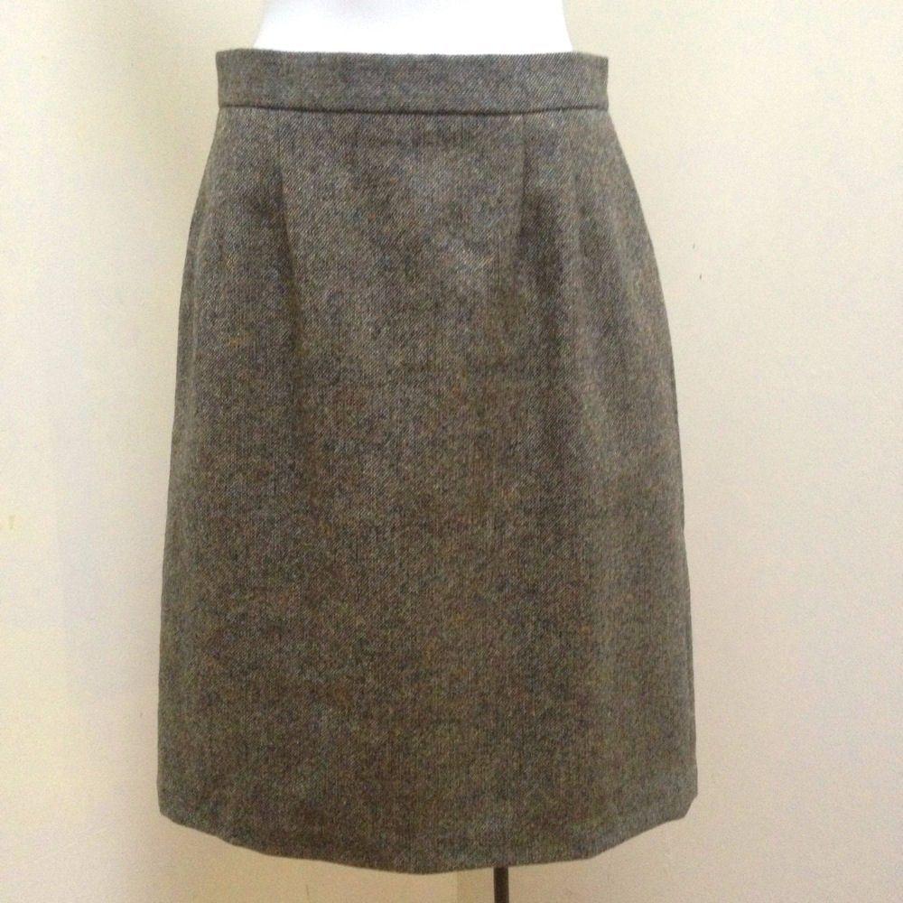 Kilkenny S Skirt Green Beige Tweed Pure Wool Pencil Career Made in Ireland